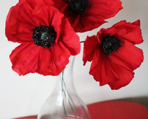 Fleurs en papier : coquelicots rouges
