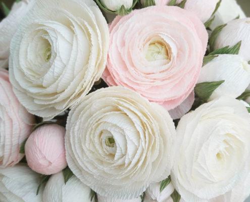 Renoncules blanches et roses