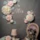 Fleurs et papillons en papier pour décoration murale